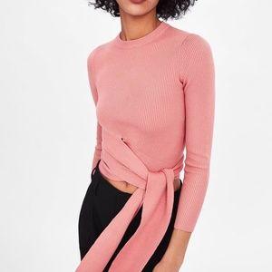 Zara  Blush Tie Waist Cropped Sweater